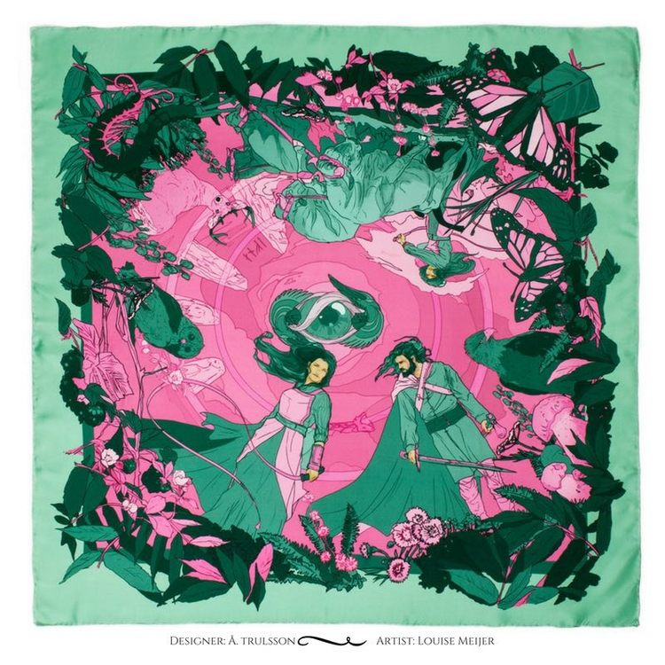 Soldiser designer goddess Gefjun green silk scarf pattern