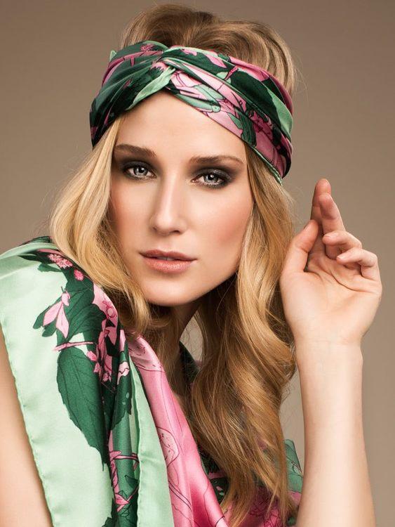 Soldiser Norse Goddess Gefjun green designer silk scarf
