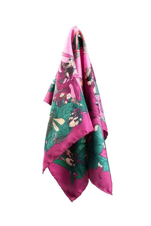 Soldiser designer silk pocket square Goddess Freya and Frey pattern