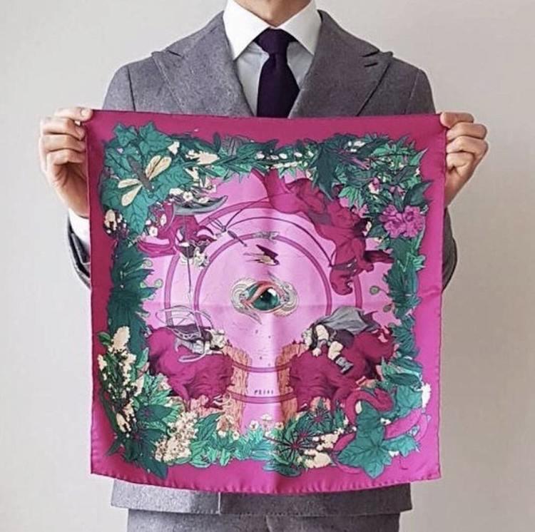 Soldiser designer Norse Goddess Freya Pink Pocket Square