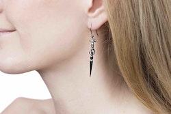 Goddess Freya Black Silver Earrings