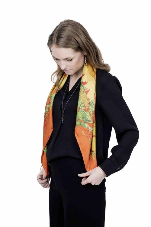 Soldiser Frigg Orange Silk Scarf on model