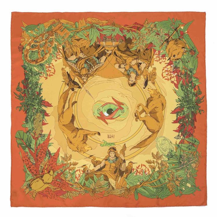 Soldiser Frigg Orange Silk Scarf Full Pattern