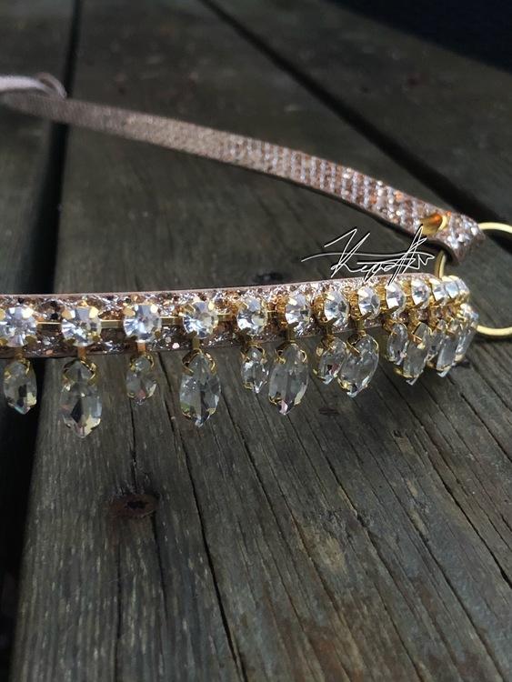 kristall showhalter med fransar
