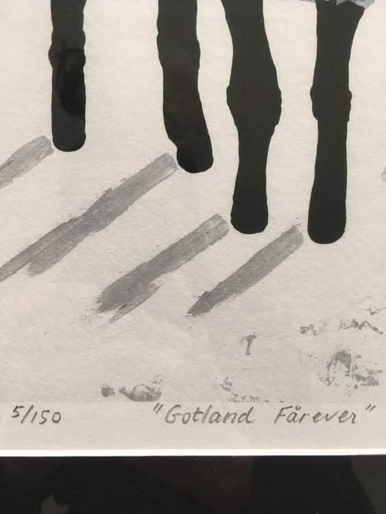 """Fårtavla. Konsttryck som är numrerat och signerat samt inramat. Tryck efter en C.Brüggmann originalmålning. """"Gotland Fårever"""""""