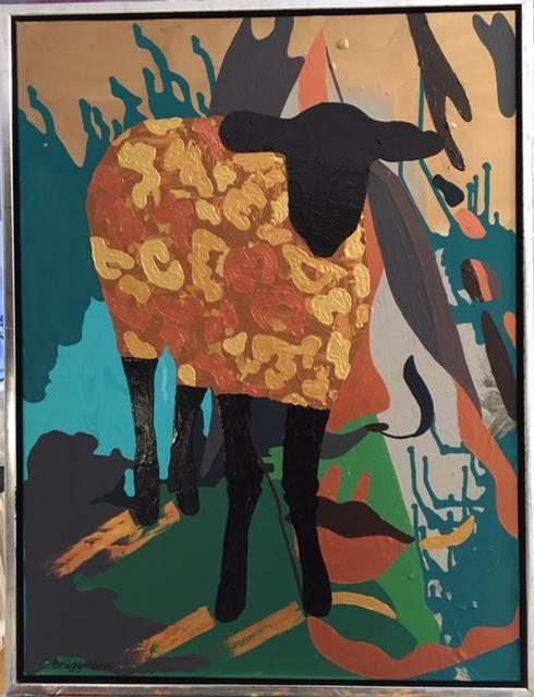 Fårkonst målad i leopardkostym av C.Brüggmann, konstnär Helsingborg. Fårtavlor inspirerade av Visby, Gotland.