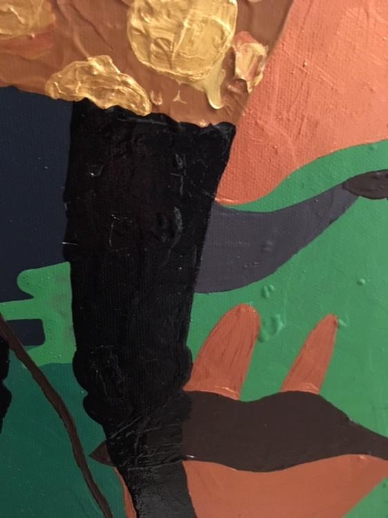 Får på tavla målad av Helsingborgskonstnär C.Brüggmann. Fårtema i guld. Svensk konst.