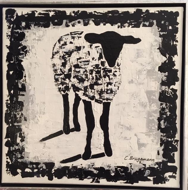 Djurkonst. Djurtavla av C.Brüggmann. Inspirerad av fåren på Gotland vilket resulterade i denna fårtavla.