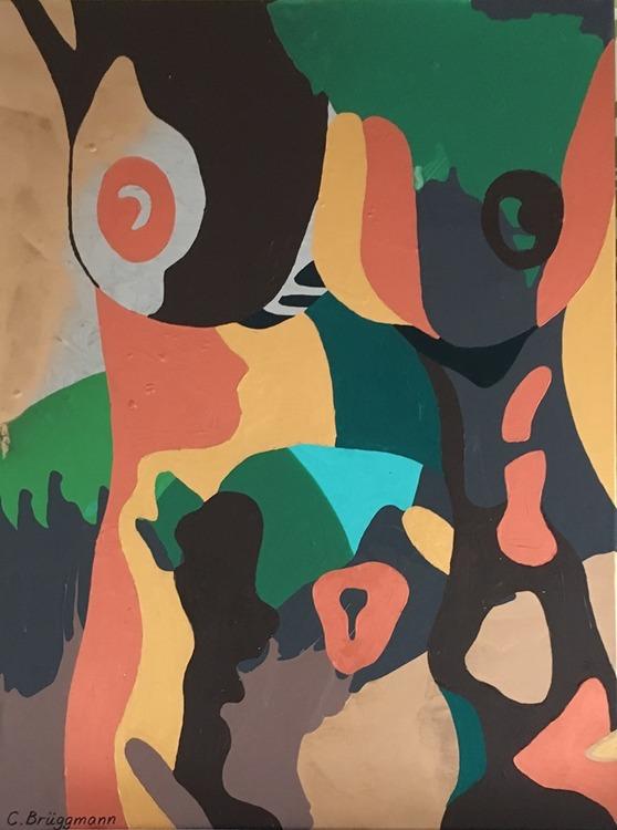 Vacker kärleksfull originalmålning i jordfärger med glimrande metallicfärger av Helsingborgskonstnären C.Brüggmann.