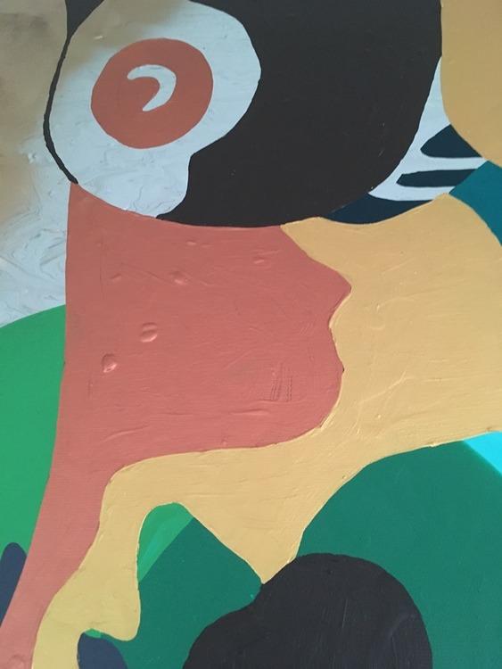 Tolka konst. Vad ser du i denna målning? Nutidskonst inspirerad av Picasso. Målad av C.Brüggmann, bördig från Helsingborg.