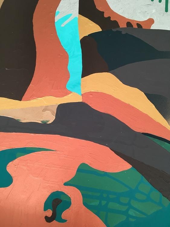 Stark konst på canvasduk av Helsingborgskonstnären C.Brüggmann. En identitetsresa av nutidskonstnären. Tolka målningen på ditt eget sätt.