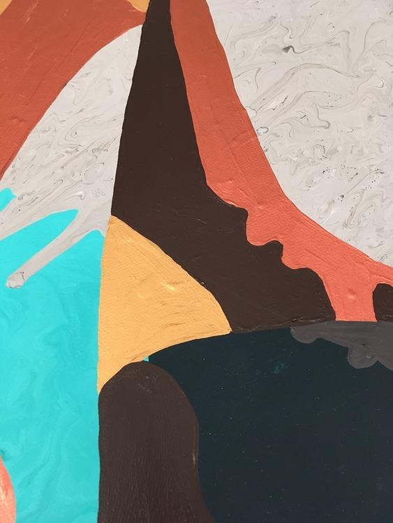 Vad ser du i konsten? Catharina Brüggmann målar känslor. Akrylfärg och sprayfärg. Färgglad tavla.