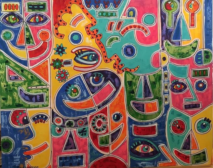 Snygga tavlor. Färgglad tavla inspirerad av Californien i USA. Svenska konstnärinnan C.Brüggmann bodde i Las Vegas under en period och på den vägen är det.