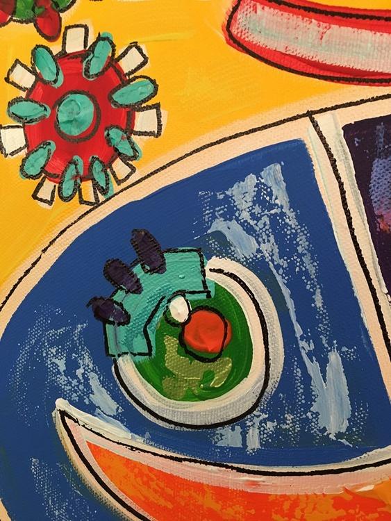 Närbild av en färgglad tavla. Svensk konst med många känslor av den vänsterhänta nutidskonstnär C.Brüggmann.
