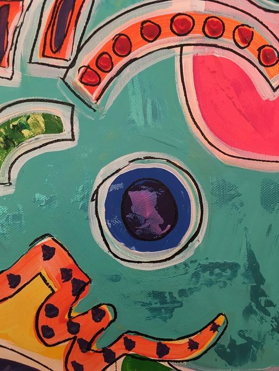 Tolka konsten gjord av C.Brüggmann. Kanske betyder denna tavla med mycket färg en sak idag men en annan imorgon?
