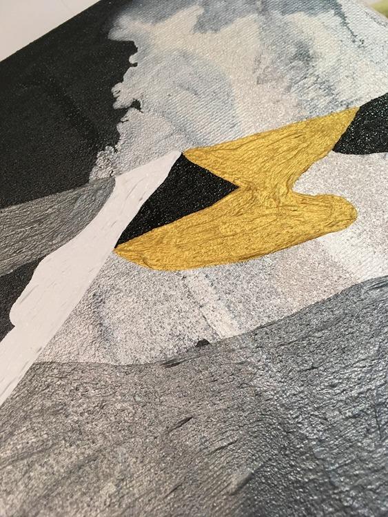 """Närbild av """"The Dream is a Keeper"""". Snygg tavla av Helsingborgskonstnär som visar upp sin ateljé i påsk."""