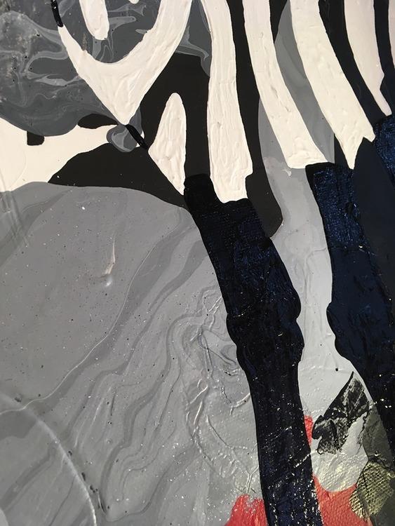 Närbild av tavla i vitt, svart och rött som kommer visas på Skånes Konstrunda i påsk. Se mer på VSKG och Catharina Brüggmann.
