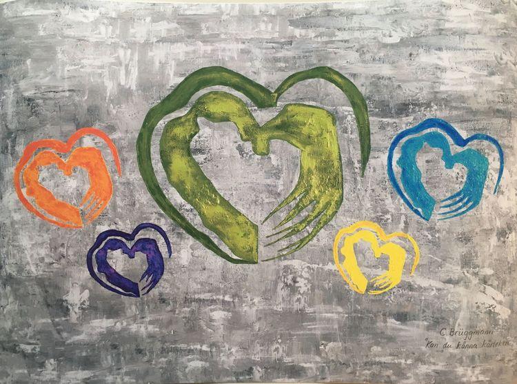Färgglad poster med hjärtan av konstnär C.Brüggmann från Helsingborg i Sverige. Svensk nutidskonstnär.