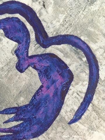 Närbild av tavla med hjärta. Färgglad konst att ha på väggen. Poster med hjärta. Tavla med kärlekstema.