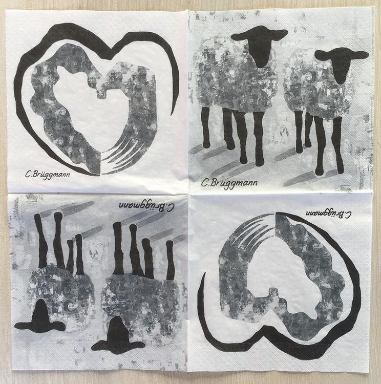 Servett tillverkad i Sverige med får och hjärtan. Två motiv på samma servett som är designad av konstnär C.Brüggmann från Helsingborg.