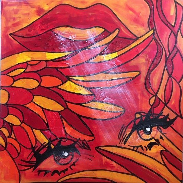 """Stor tavla i röd-orange-gula toner målad av C.Brüggmann med titel, """"Who is talking?"""". Catharina är en svensk konstnärinna."""