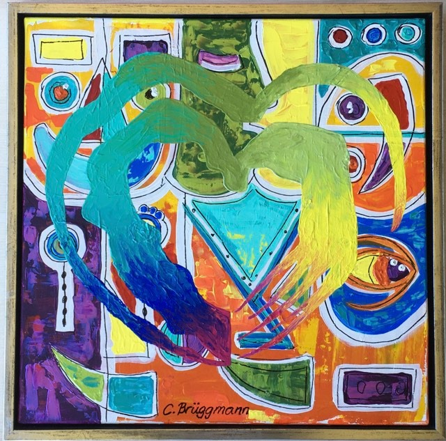 Färgglad tavla av C.Brüggmann som gömmer ansikten med olika känslor bakom ett mäktigt hjärta.