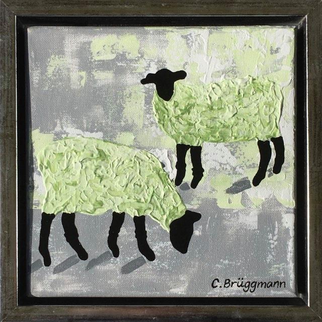 Djurtavlor som i detta fall är en fårtavla målad av C.Brüggmann. Inspirerad av Gotlandsfår och Visby.