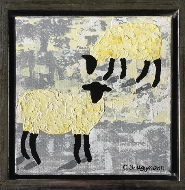 C.Brüggmann säljer olika fårsaker och här är en målning med Gotlandsfår, inspirerad av fåren i Visby på Gotland.