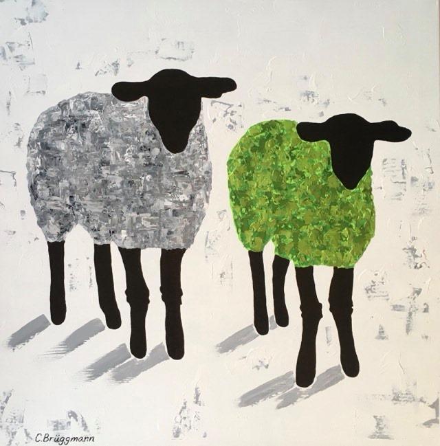 Fårsaker av C.Brüggmann. Här en fårtavla med grönt  och grått får. Fårmotiv på stor tavla.
