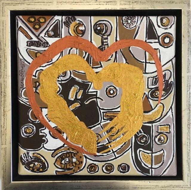 Tavla med hjärta, målad av kärlek av C.Brüggmann. Catharina har målat fler hjärttavlor som kan ses på cbruggmann.se