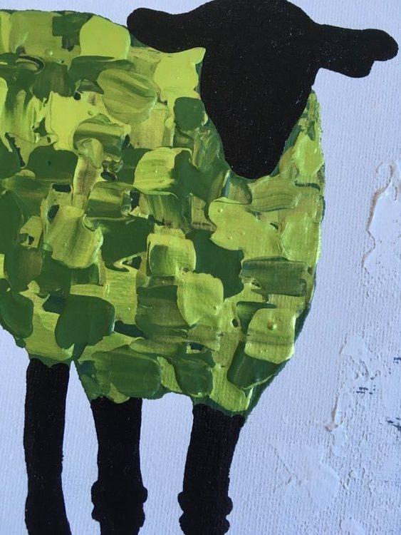 Färgglad fårkonst av svenska nutidskonstnären C.Brüggmann.  Snygga tavlor att pryda ditt hem med.