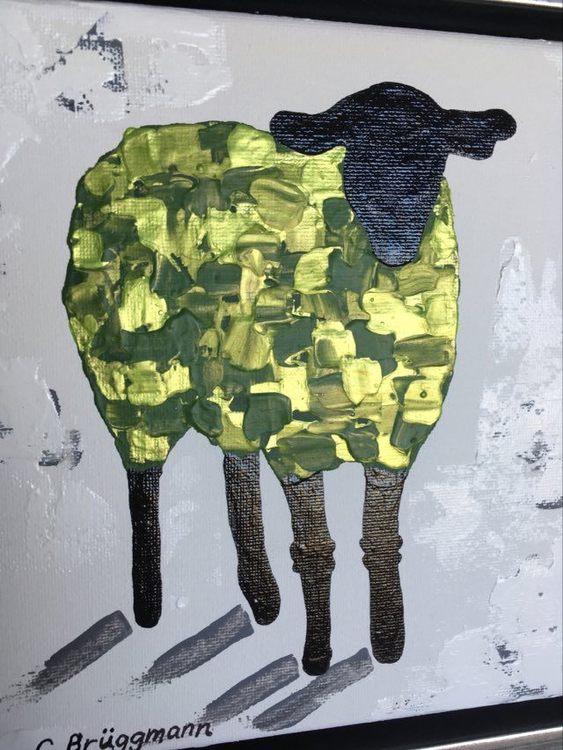Fårsaker av konstnär C.Brüggmann. Tavlor, kuddar, brickor mm. Fårkonstnär är hennes andra namn.