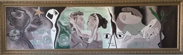 Stor tavla i jordfärger målad av svenska nutidskonsnären C.Brüggmann som inspirerats av Picasso och Robert Broberg.