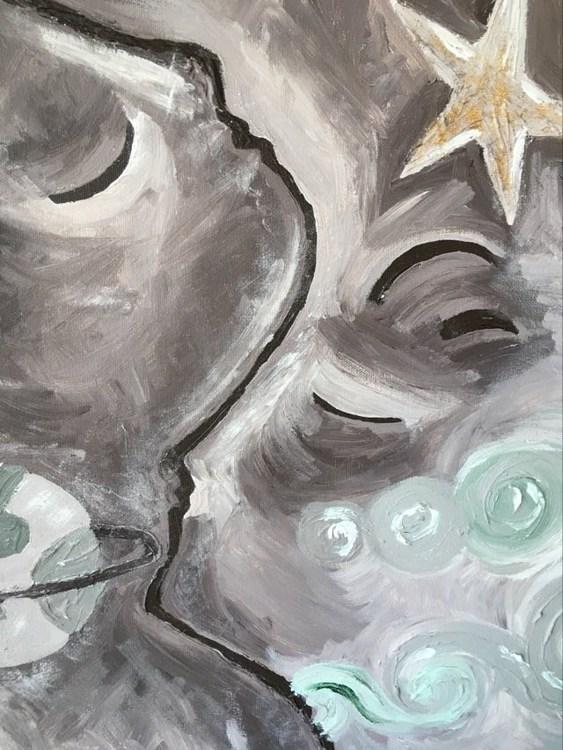 Kärlekspar på målad stor tavla. Perfekt målning att hänga över soffan. Unna dig ett original på väggen.