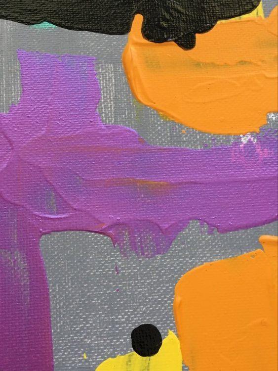 Närbild på färgrik målning av Helsingborgkonstnär C.Brüggmann. Allt konst kan köpas online på webshop Cbruggmann.se