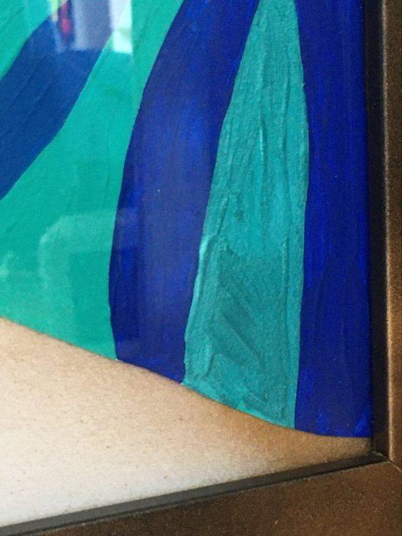 Närbild på den målade kuken som blev invald i jurybedömd utställning i Helsingborg. Finns att köpa på cbruggmann.se