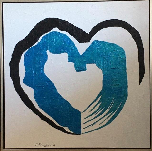 Tavla med hjärta i blå/turkos metallicfärg som skimrar vackert i olika ljus. Målad av C.Brüggmann.