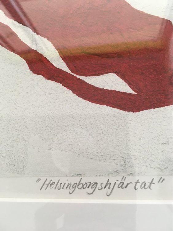 Närbild på ett hjärta från en tavla av C.Brüggmann. Konstnär från Helsingborg.