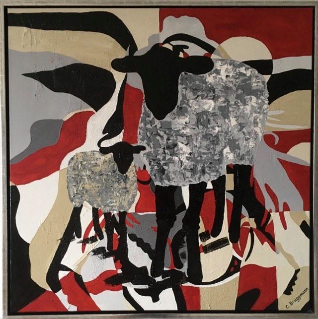 Modern konst med fårmotiv av C.Brüggmann, svensk nutidskonstnär från Helsingborg. Stilren men mycket finns att hitta i tavlan.