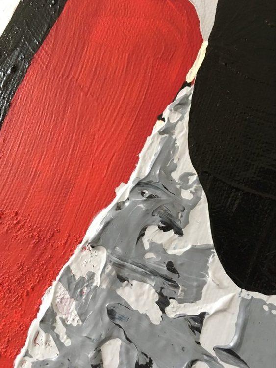 Cool tavla i rött, svart, vitt av svenska konstnärinnan C.Brüggmann bördig från Helsingborg.