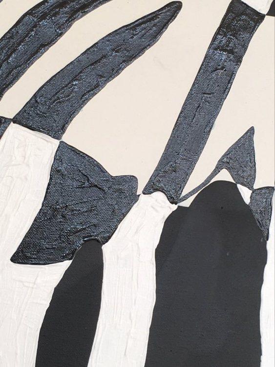 Närbild på tavla med fårmotiv där gotlandsfår är inspirationen till konsten av C.Brüggmann.
