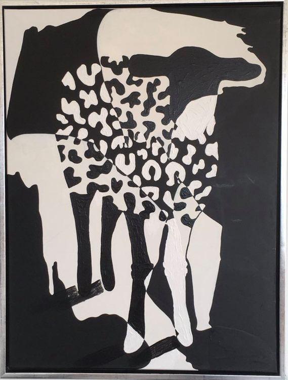 Leomönstrad fårtavla i black and white av svenska konstnärinnan C.Brüggmann som även deltager i den skånska konstrundan varje år.