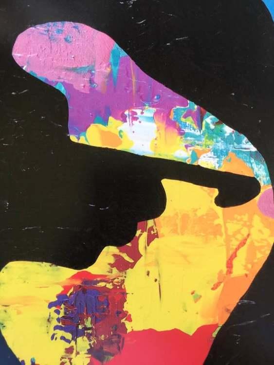 Ett tryck av en originalmålning på M.Monroe. Färgstark konst av C.Brüggmann till din tavelvägg.
