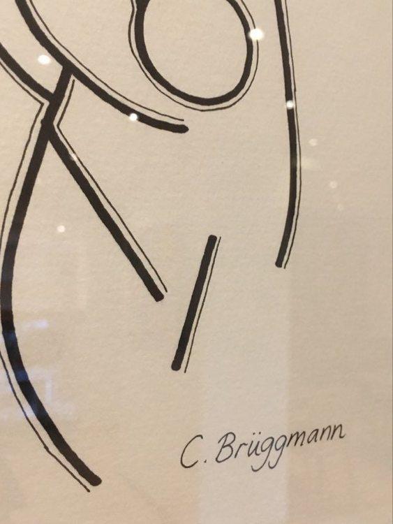 """Närbild av C.Brüggmanns målning """"In her hands or on her shoulders?"""" Förnya ditt rum med konst."""
