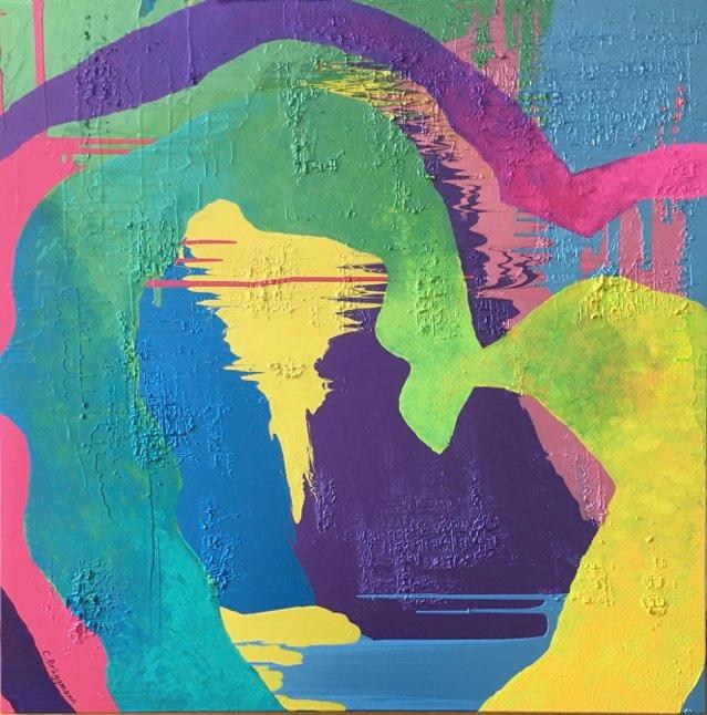 Tavlor med hjärtan av C.Brüggmann. Massa glada färger i denna färgstarka konst. Stor tavla till ditt hem.