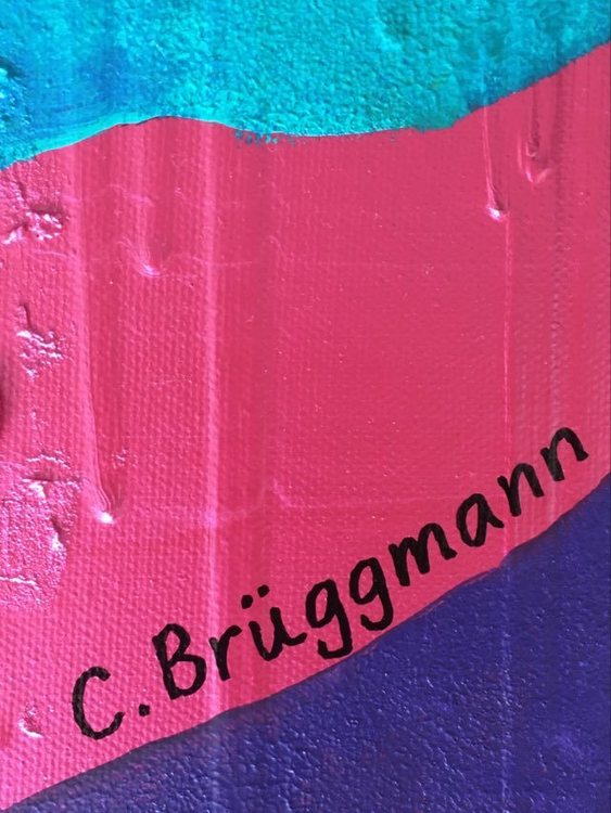 C.Brüggmann, Svensk nutidskonstnär som gärna målar med mycket färg. Tavlor med hjärtan är en favorit.
