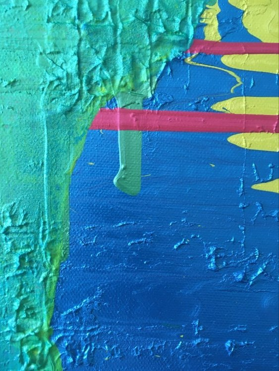 Närbild på Stor tavla målad av Svenska konstnärinnan C.Brüggmann. Kärlek i en originalmålning.