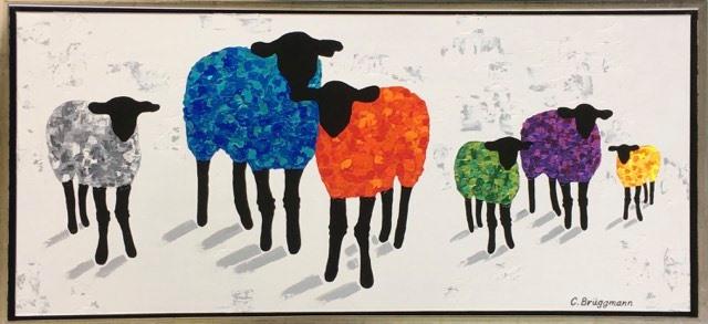 Färgrika tavlor med får av fårkonstnären C.Brüggmann. Färgstark konst till dig hem. Inred med originalmålningar.