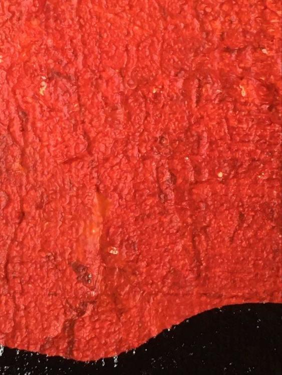 Originalmålning med mycket färg. Glada röda nyanser plus grått och svart. Finns att se på Ronneby Brunn Hotell.