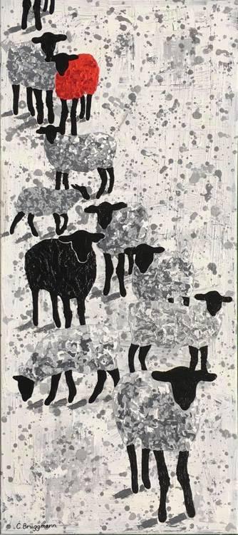 Djurmotiv är härliga och här är gotlandsfår avbildade på eget sätt av nutidskonstnären C.Brüggmann.